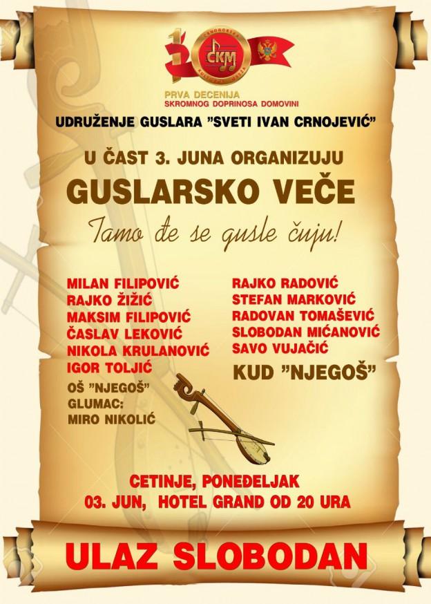 GUSLARSKO VEČE U ČAST 3. JUNA