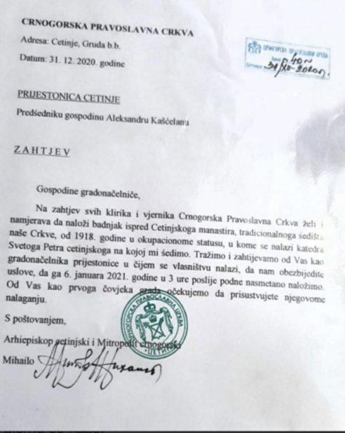 UPRAVA POLICIJE I PRIJESTONICA CETINJE DA DOZVOLE CPC NALAGANJE BADNJAKA ISPRED CETINSKOG MANASTIRA